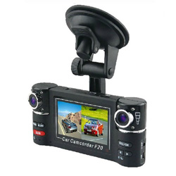 New Dual Camera 720P Two Channels Car Video Audio Recorder DVR Motion Detect F20