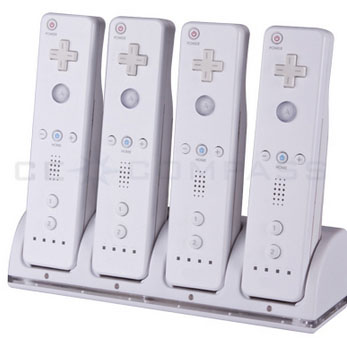 Remote Controller Charger +4 x Battery Packs for Wii